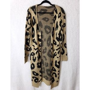 Vestidos Hand Knit Leapord Animal Print Cardigan